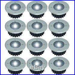 12 x STAINLESS STEEL WHITE LED SOLAR POWERED GARDEN DECKING DECK LIGHTS WIRELESS