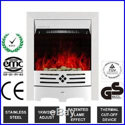 2KW Electric Fireplace Suite Insert MDF Suround LED Burning Fire Pebble Flame