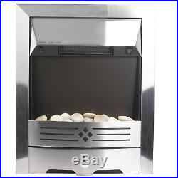 2KW Electric Fireplace Suite with Surround LED Burning Pebble Fire Flame 7000BTU