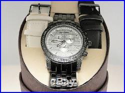 2.25 Ct New Mens Jojo/Jojino/Joe Rodeo Metal 56 Black Diamond Watch Mj-1169