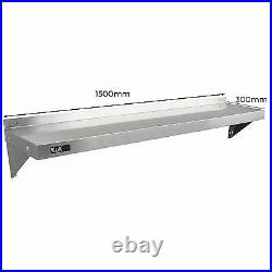 2 x Commercial Catering Stainless Steel Shelves Kitchen Wall Shelf Metal 1500mm