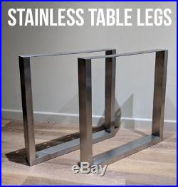 2 x STAINLESS STEEL Metal Table Legs Box Chunky / Industrial / Dining / Wooden