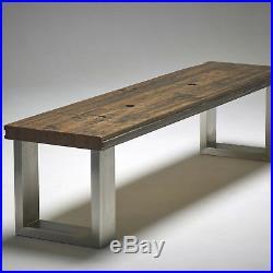 2 x STAINLESS STEEL Table Legs Sleek Modern Brushed Finish