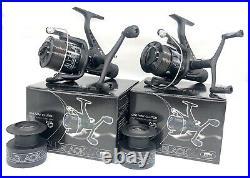 2x Carp Fishing Reels All Black 6000 Black Baitrunner, Spare Spool & Free Line