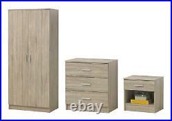 3 Piece Bedroom Furniture Set Wardrobe Chest Drawers Bedside Table Sonoma Oak