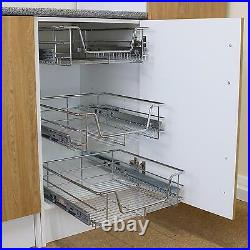 3 Pull Out Kitchen Storage Basket Rack Kitchen Slide Out Cabinet Organiser 400mm