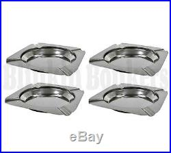 4 Metal Stainless Steel Square Cigarette Ashtray Ash Tray For Home House Cafe 2b