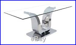 8Seater Dining Kitchen Dinner Table Glass and Chrome 6ft 180cm Alexandria