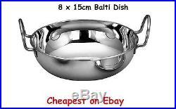 8 x 15cm Metal Indian Food Balti Karahi Kadai Curry Serving Table Dishes Bowls