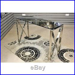 Apex Stainless Steel Console Table With Smoked Glass Top Hallway Home Furniture