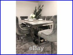 Arianna Grey Marble Dining Table & 6 Chairs Set Grey Plush Velvet