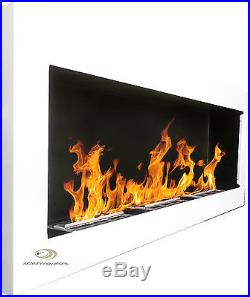 BIO ETHANOL FIREPLACE Excellence WHITE GLOSS XXL 140x40 Wide flame effect