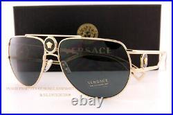 Brand New VERSACE Sunglasses VE 2225 1002/87 Gold/Grey For Men