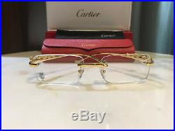 Cartier Glasses Rimless Gold 53mm Vintage Frame Wood Metal buffalo
