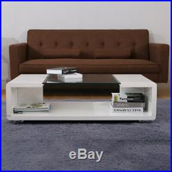 Clear Tempered Glass Centre Coffee Table Gloss Wood Finish Living Room Tea Room