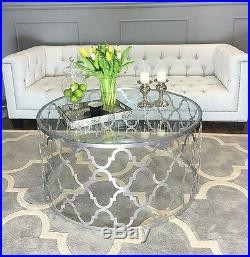 Coffee table MAROC MINI SILV stainless steel glass silver mirror hand made gloss