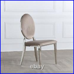 Cream Oyster Velvet Luxury Dining & Kitchen Chair with Oval Chrome Trim