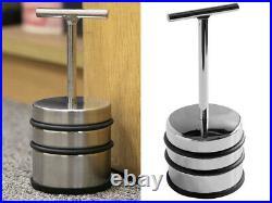 Door Stopper S/steel Chrome Handle Heavy Duty Stop Weight Non Slip Rubber Base