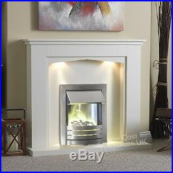 Electric Cream Silver Fire Pebble Surround Led Fireplace Suite Large Lights 54