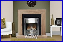 Electric Fire Oak Black Surround Silver Freestanding Wall Fireplace Suite Bnib