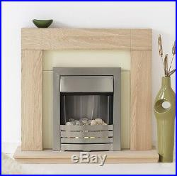 Electric Fire Oak Cream Pebble Surround Silver Freestanding Wall Fireplace Suite