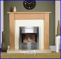 Electric Fire Oak Cream Wood Surround Silver Freestanding Wall Fireplace Suite