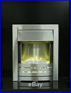 Electric Fire Wood Oak Surround Silver Freestanding Wall Cream Fireplace Suite