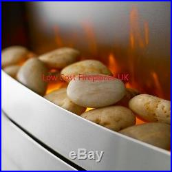 Electric Modern Silver Remote 2kw Flame Coal Pebble Insert Inset Fireplace Fire