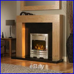 Electric Oak Surround Black Silver Modern Wall Fire Fireplace Suite Large 54