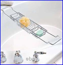 Extandable Chrome Over Bath Rack Shower Tray Tub Caddy 3compartment Shelf Modern