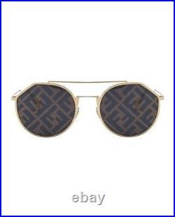 Fendi EYELINE Sunglasses FF M0021 24S Gold White Grey Graphic Mirrored Men Women