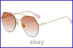 Fendi Eyeline FF 0194/S 194 Graphic Pink Gold Logo OBL/0M Women Sunglasses