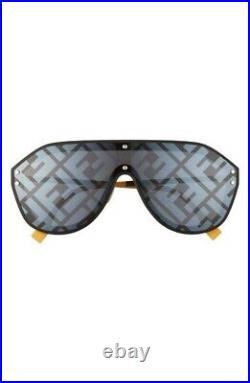 Fendi FABULOUS FF M0039/G/S 71C/MD Black Yellow Silver Mirror Unisex Sunglass