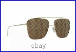Fendi FF FAMILY FF 0406/S 01Q Gold Brown Monogram Logo Large Aviator Sunglasses