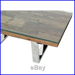 Grayson Industrial Coffee Table in Railway Wood with Glass Top GRY002