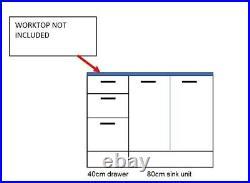 Grey Kitchen Set 120cm 1.2m Sink Cabinet 3 Drawer Base Unit Mat Cupboard Paula