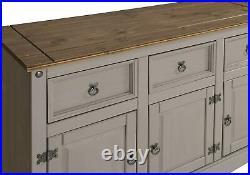 Grey Large Sideboard Rustic Cupboard Cabinet Dining Kitchen Hallway Storage Unit