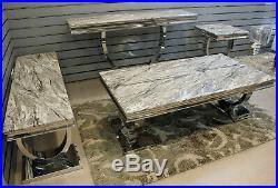 Grey Marble Top Modern Coffee Table Sofa Living Room Furniture Set Cream Tv Unit