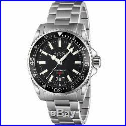 Gucci Mens Dive Watch Ya136301 Black Dial Metal Strap Rrp £1050.00