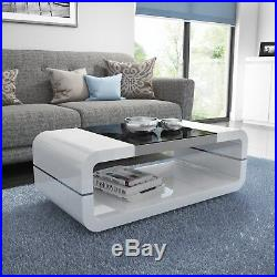 High Gloss White Curved Coffee Table with Black Glass Top Tiffany Rang TIFF018