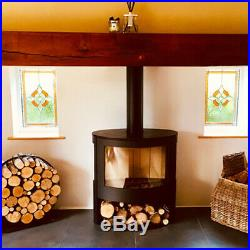 Iris 10kw Curved 3 Sided Contemporary Multi Fuel Wood Burning Stove ModernStoves
