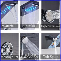 LED Black Shower Panel Column 4 Massage Body Jets Stainless Steel Bathroom Mixer