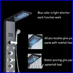 LED Shower Panel Column Water Tower Massage Jets Shower Hand Bathroom Black UK