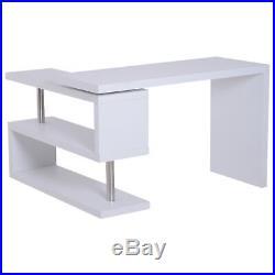 L Shape Desk Computer Corner Table Pivot Shelf Wood Bookcase Storage Display
