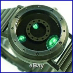 Liquid Metal Wrist Watch Gunmetal Black Green Steel Metal Belt withOriginal Box