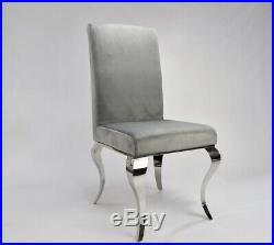 Louis Dining Chair Grey Velvet Seat Metal Legs High Roll Back Top Kitchen Chairs