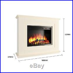 Luxury 2KW Electric Fireplace Suite with Surround LED Log Fire Flame 8000Btus