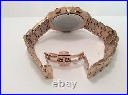Men Aqua Master Jojo Jojino Joe Rodeo Rose Metal Band 48mm Diamond Watch W#356