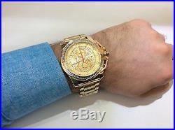 Men Aqua Master Jojo Jojino Joe Rodeo Yellow Metal Band 50mm Diamond Watch W#352