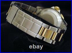 Mens Rolex Submariner 18k Yellow Gold Stainless Steel Watch Black Date Sub 16613